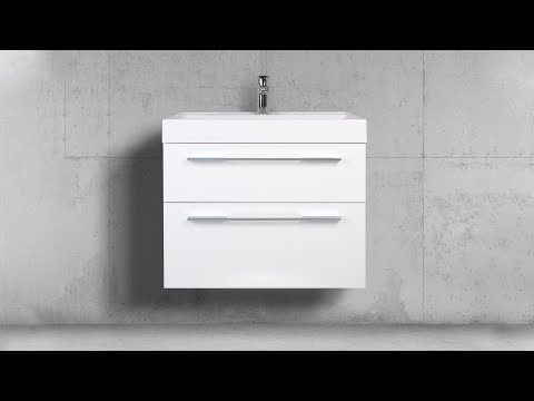 Badmöbel Set 70 cm Waschtisch mit Unterschrank, Weiß Hochglanz, Made in Germany