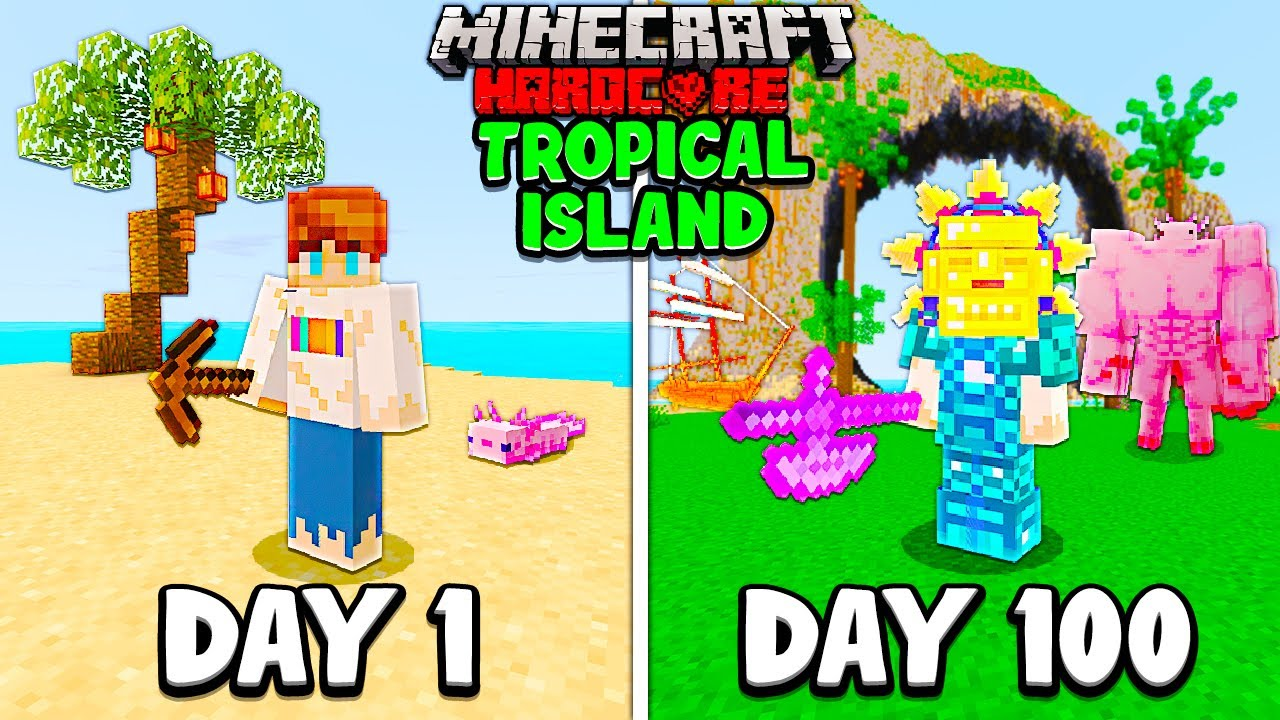 I Survived 100 Days on a TROPICAL ISLAND in Hardcore Minecraft...