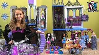 Frozen Princess Anna and Elsa Sleepover at Monster High Story with Monster High School and Toys