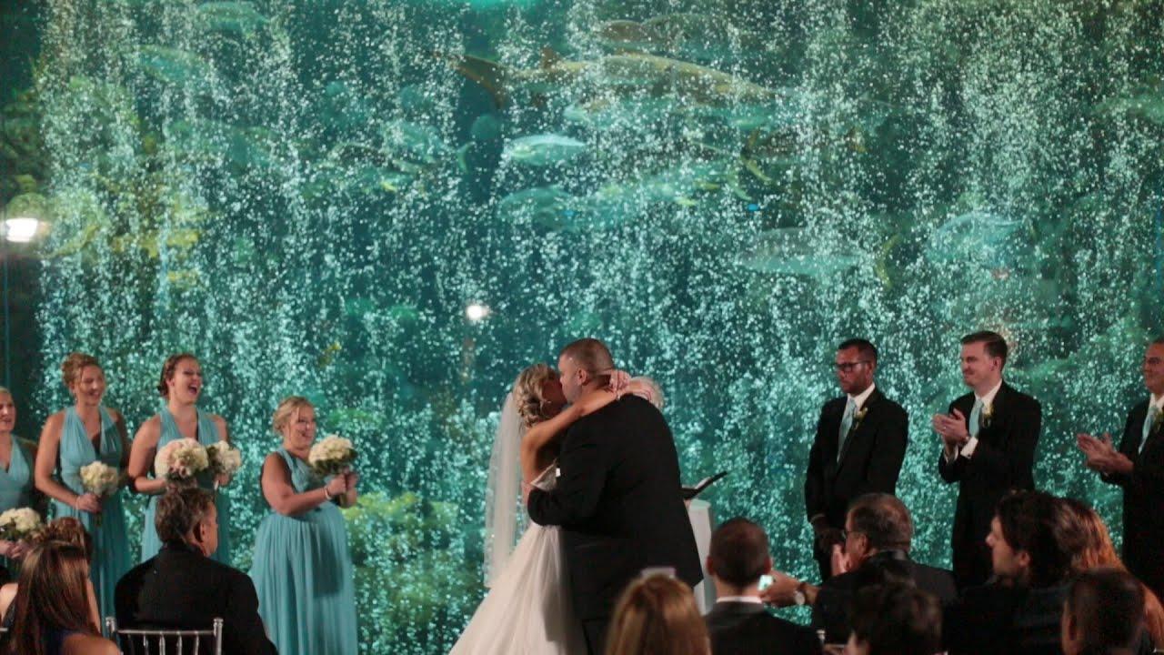 Florida Beach Wedding With Aquarium Reception: FL Aquarium Wedding