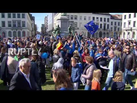 Belgium: Pro-EU rally takes place in Brussels on the EUs 60th anniversary
