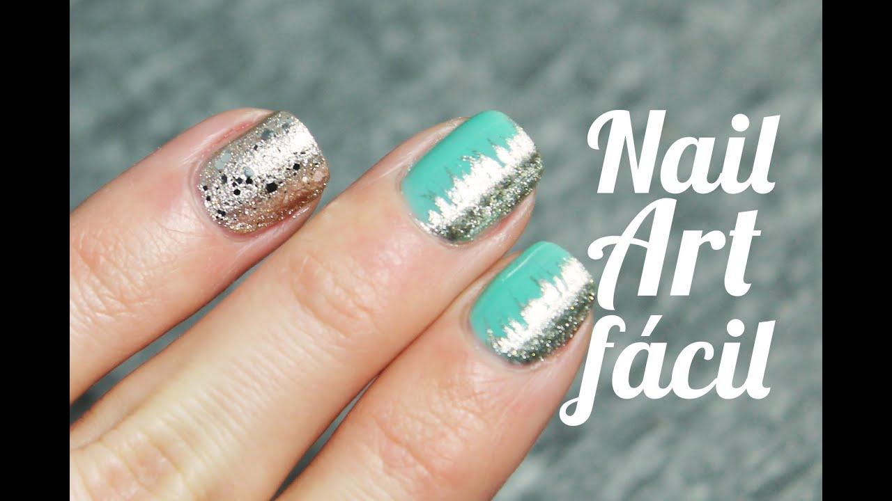 Cómo decorar tus uñas fácil y rápido con verde menta y plata | Nail ...