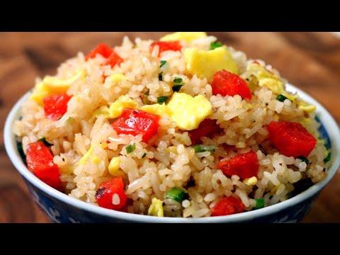 Chinese Fried Rice - Chinese Sausage Fried Rice Recipe (Com Chien) - Cách làm Cơm Chiên