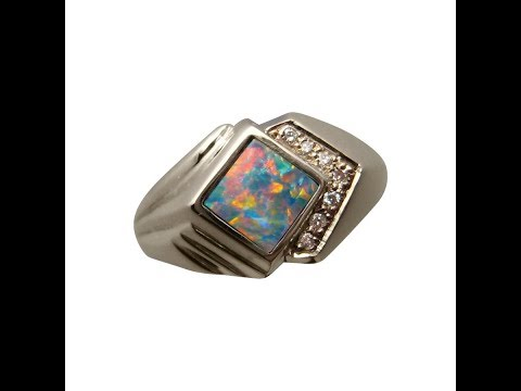 Mens Opal Ring With Diamonds 14k Gold | FlashOpal