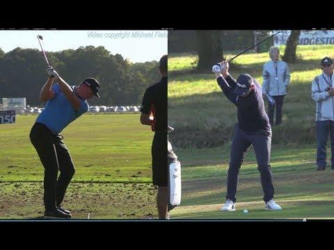 Matt Wallace Golf Swing - mid-iron (DTL & FO views), Sky Sports British Masters, October 2018.