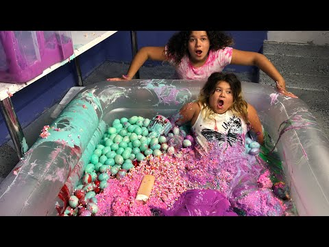 MIXING ALL OUR GIANT SLIMES IN A POOL  GIANT SLIME SMOOTHIE