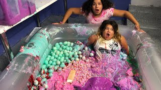 MIXING ALL OUR GIANT SLIMES IN A POOL - GIANT SLIME SMOOTHIE thumbnail