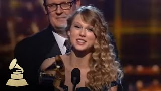 Taylor Swift accepting the GRAMMY for Album of the Year at the 52nd GRAMMY Awards | GRAMMYs