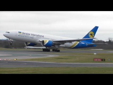 Ukraine International Airlines B777 Super Fast Departure at Manchester Airport! 31.3.18