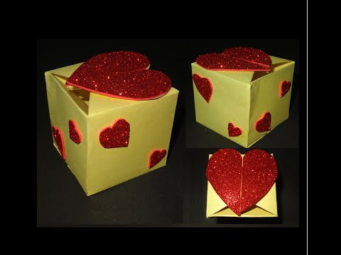 Paper Crafts Gift Box tutorial: Beautiful Valentine's Day heart Gift Box
