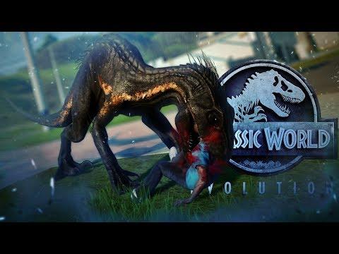 Jurassic World Evolution - INDORAPTOR ESCAPE!! - Indo VS Giga, Rex, Spino - Fallen Kingdom Gameplay
