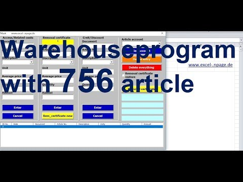 40 Create warehouse management program in Excel VBA with 756 article numbers yourself
