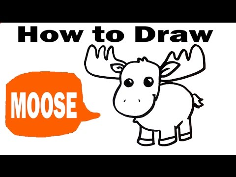 How to Draw a Moose - Cute Art - Easy Pictures to Draw - YouTube