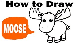 How to Draw a Moose - Cute Art - Easy Pictures to Draw