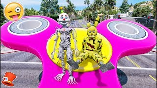 SPRINGTRAP & ENNARD FLY ON GIANT FIDGET SPINNERS! (GTA 5 Mods For Kids FNAF Redhatter)
