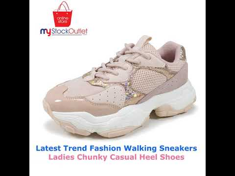 Latest Trend Fashion Walking Sneakers Ladies Chunky Casual Heel Shoes
