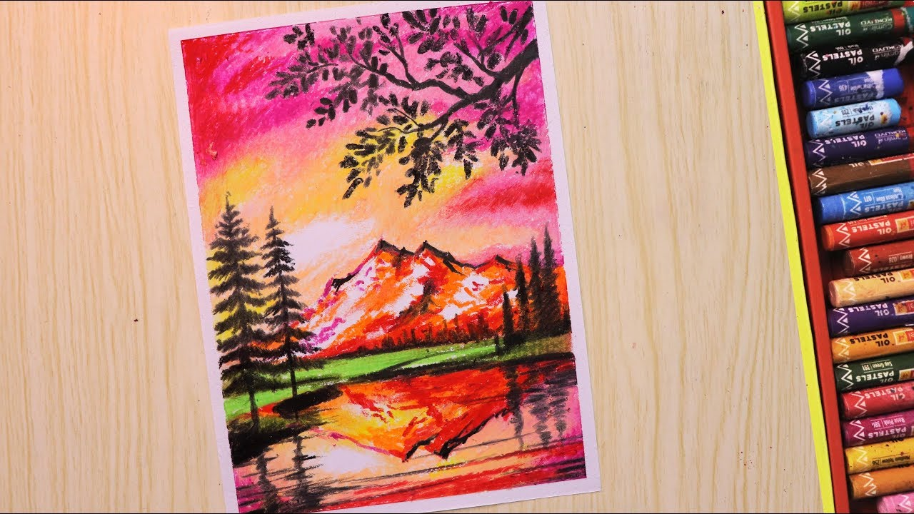 Oil pastel drawing for beginners | Scenery drawing of ...