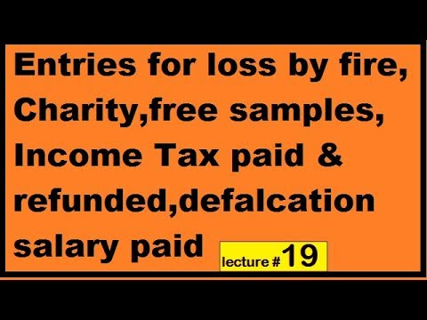 Entries for loss by fire Charity free samples Income Tax paid & refunded defalcation salary lec7 ch2