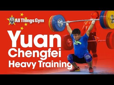 Yuan Chengfei (77kg, China 🇨🇳) Full Session: 180kg Squat Jerk + 210kg Clean Pulls + 240kg Jerk Dips