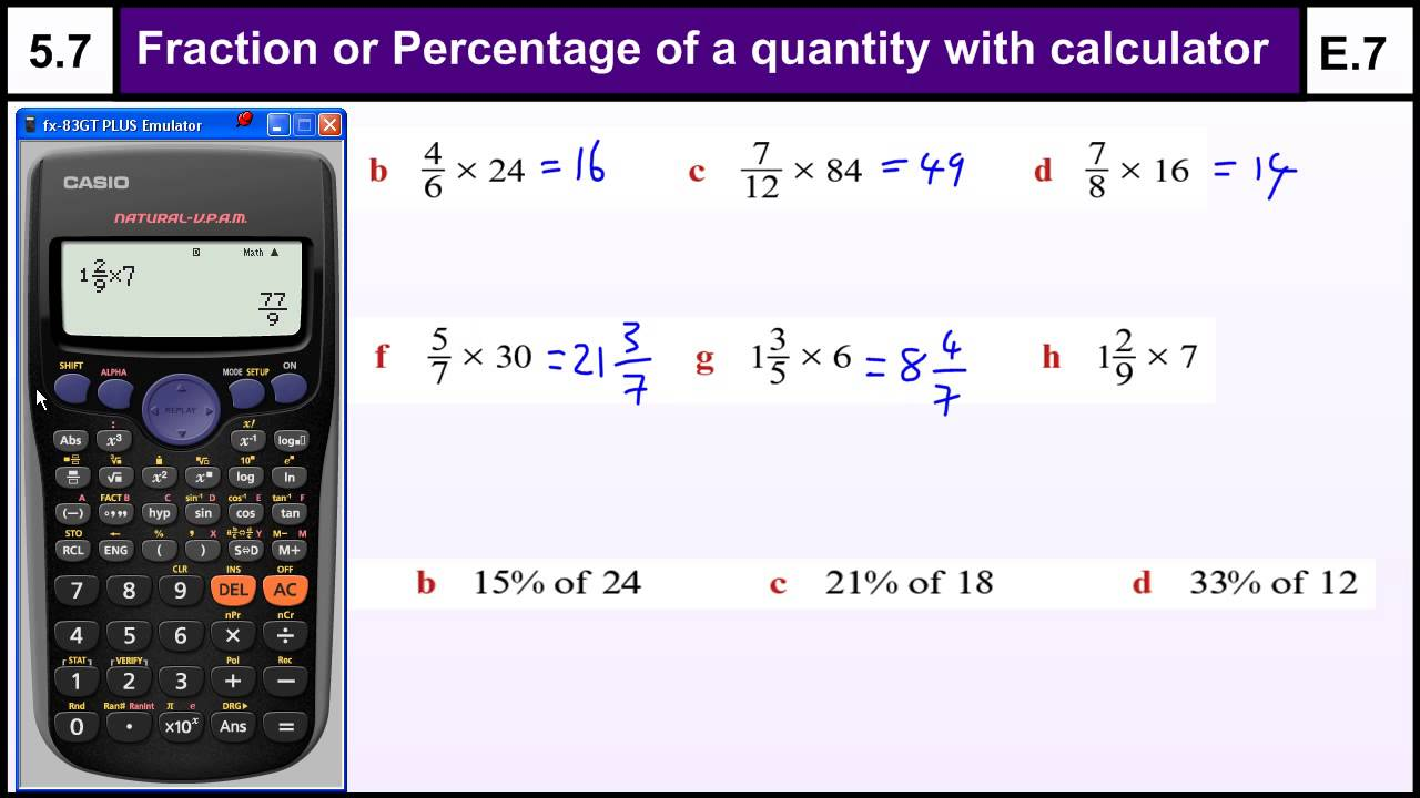 how to work out percentages of money on a calculator