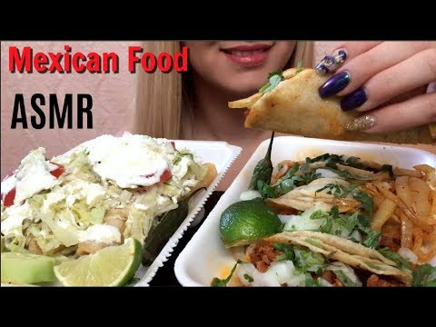 ASMR Mexican food Tacos & Flautas (Whispering)   Eating Show   EatWithJas91