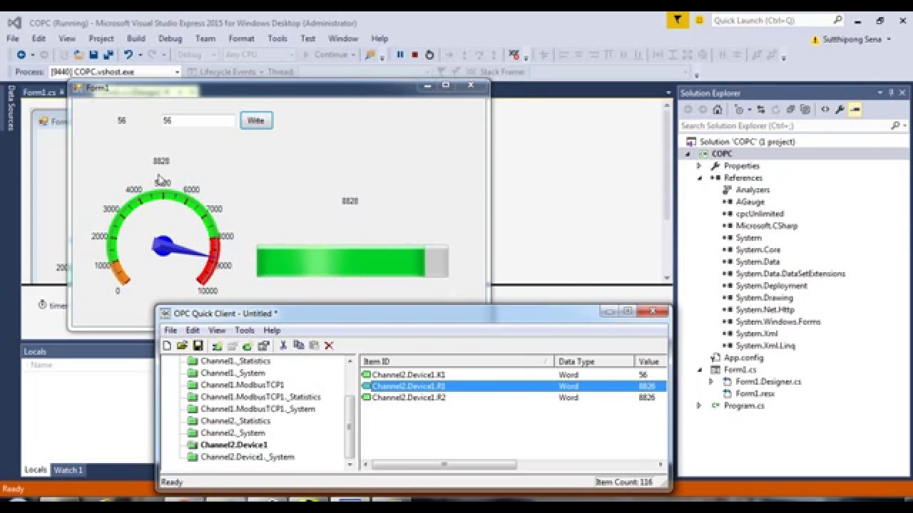 Example of SCADA application created with Visual C#