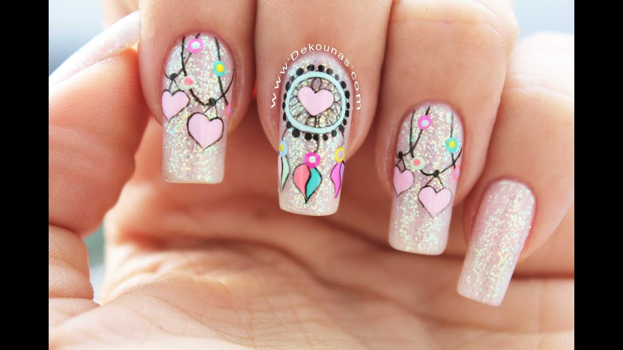 Diseno De Unas Atrapasuenos Dreamcatcher Nail Art Youtube