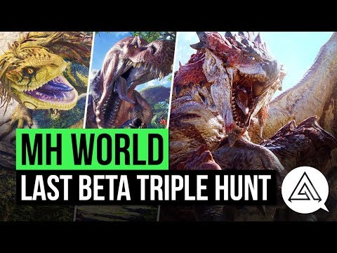 Monster Hunter World | Final Beta Hunt - Rathalos, Anjanath & Great Jagras in 20 Minutes