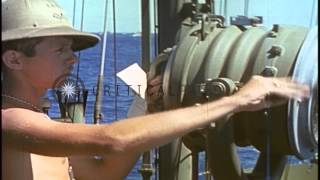 A signal man aboard LST-782 sends a message off the coast of  Iwo Jima, Japan dur...HD Stock Footage