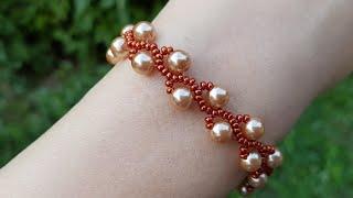 Браслет из бисера/Жемчужный браслет/Браслет из бусин и бисера/Beaded bracelet/Pearl bracelet