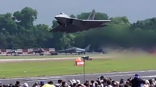 F-22 raptor AMAZING vertical take-off!! RIAT 2016