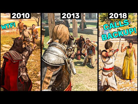 How NPCs React If You Scare Them in Assassin's Creed Games? (2007-2021) |
