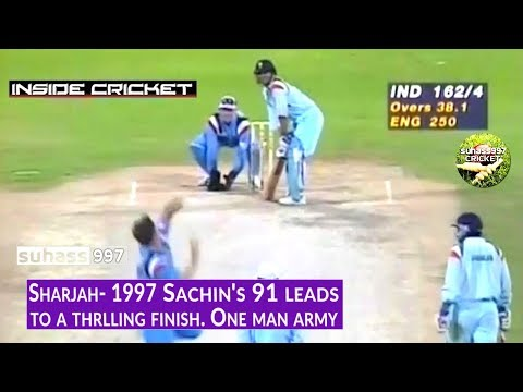 SHARJAH 1997 INDIA vs ENGLAND | Sachin's 91 leads to a thrilling finish!