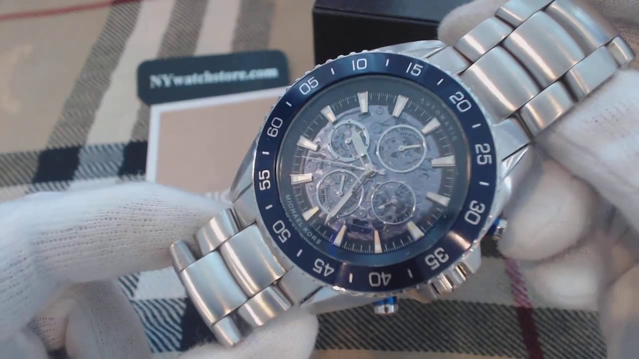 85deb0007b0e Men s Michael Kors Jetmaster Steel Automatic Watch MK9024 - YouTube