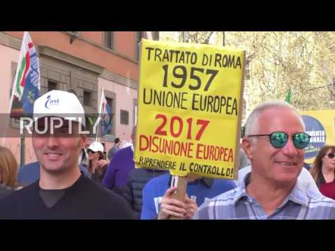 Italy: Thousands join anti-EU protest as European leaders renew Treaty of Rome