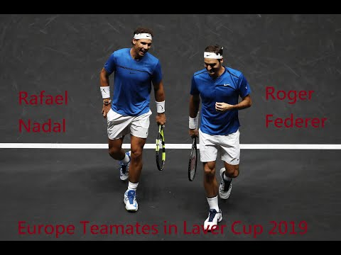 Tennis Roger Federer vs Rafael Nada - became Europe teamates in Laver cup 2019 (HD)