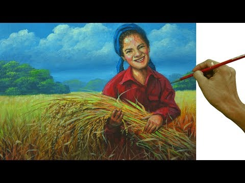 Acrylic Landscape Painting Tutorial | Woman Harvesting Rice