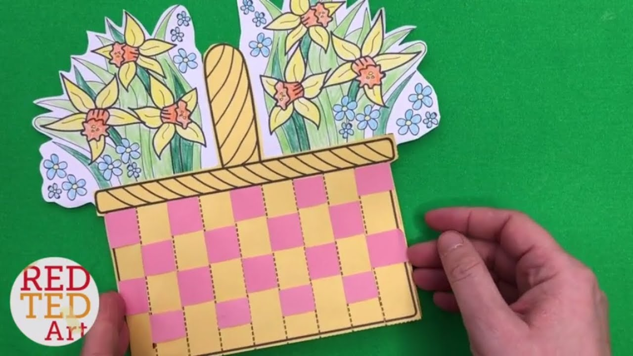 Flower basket paper weaving card with template diy for Paper basket weaving template