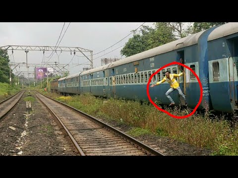 Silly Boy risking his Life!!   WAP-5 climbs Khandala Lonavla section with Indore Pune Express