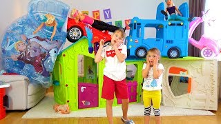 Ksysha and Niki plays with toys for Kids and Playhouse