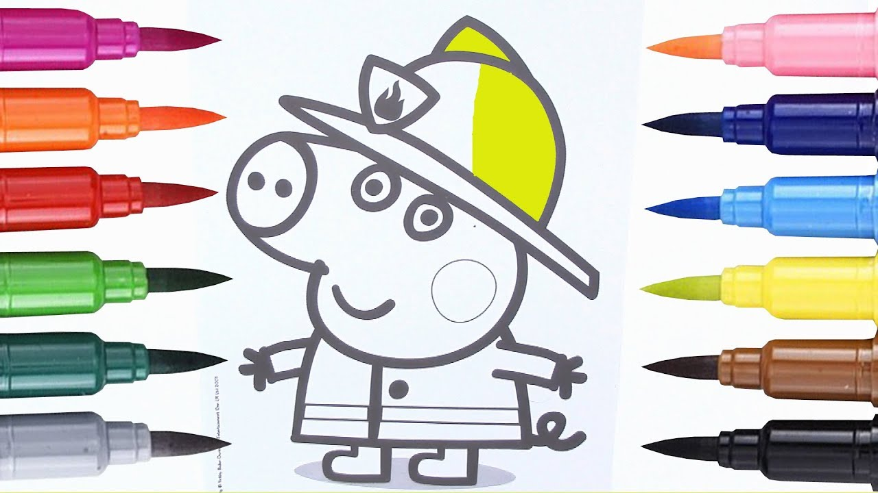 how to draw peppa pig coloring pages peppa pig is a firefighter
