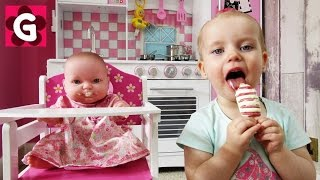 Gaby Pretend Play with Baby Doll and tasting Ice Cream