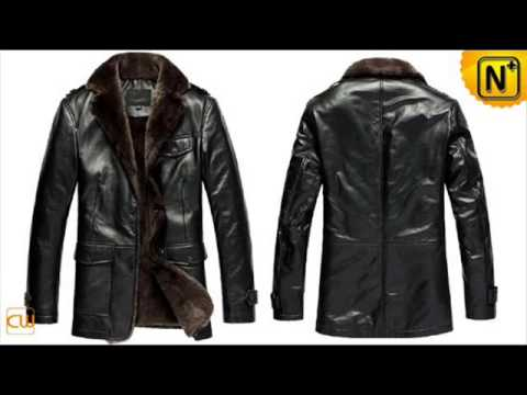 Men's leather fur coats CW833337,Mens Fur Lined Leather Coat - YouTube