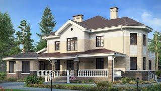 Проект дома в европейском стиле из кирпича. Дом с эркером, бассейном и сауной. Ремстройсервис М-171