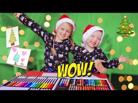 DIY: Coole Kerstkaarten maken met de Crayola Kleurkoffer! ♥DeZoeteZusjes♥