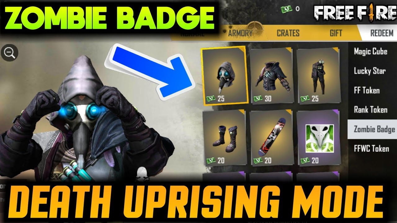 HOW TO GET ZOMBIE BADGE IN FREEFIRE || FREEFIRE DEATH UPRISING MODE  GAMEPLAY AND FULL DETAILS
