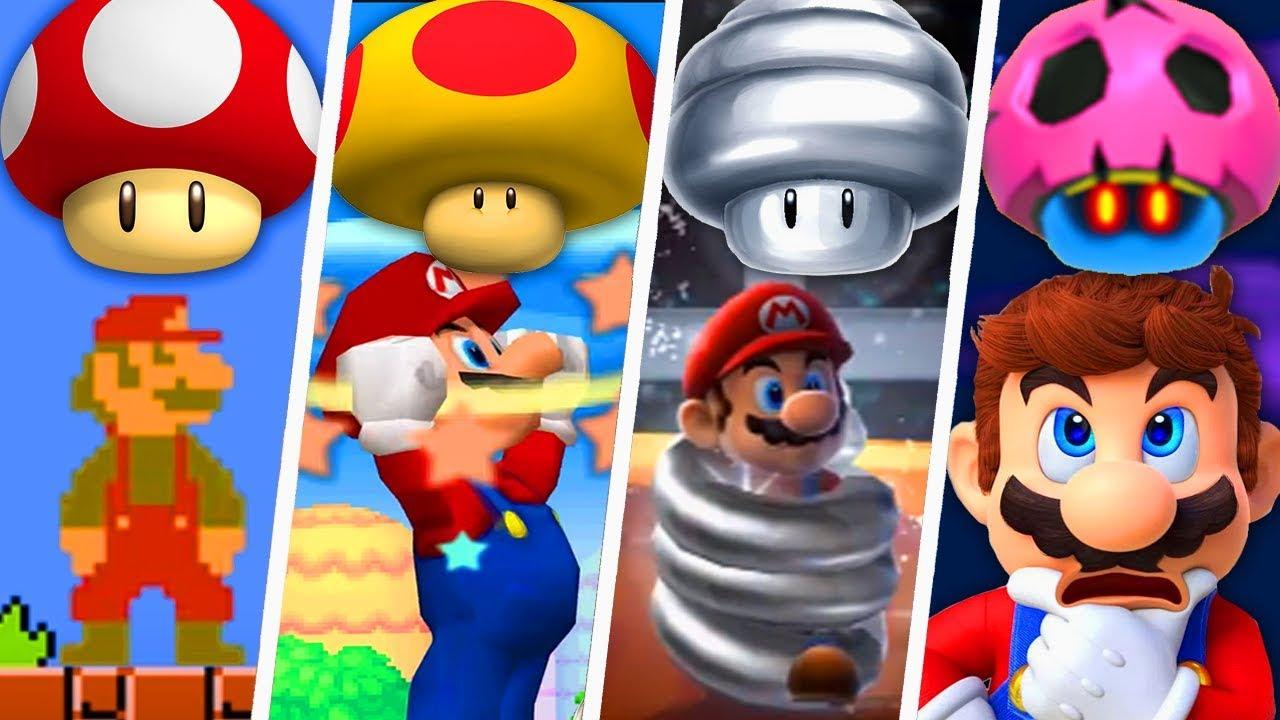 Evolution Of Super Mario Mushroom Power-Ups (1985