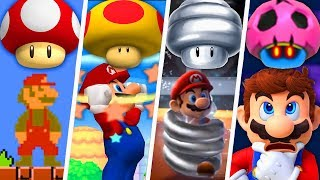 Evolution of Super Mario Mushroom Power-Ups (1985 - 2019)