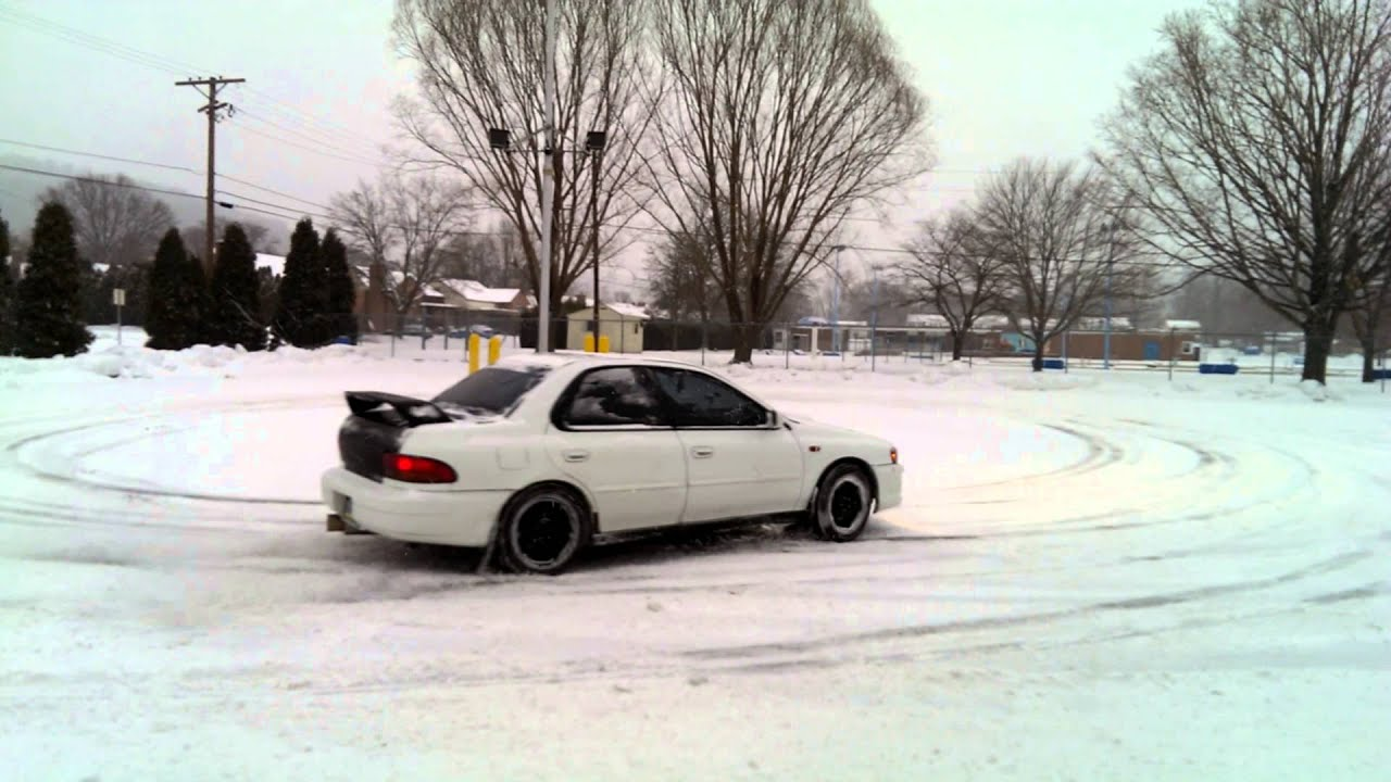 2001 subaru impreza 2.5rs snow drifting - youtube