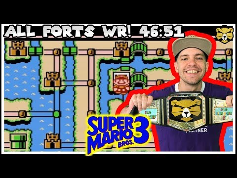 Super Mario Bros 3. Speedrun World Record All Forts 46:51